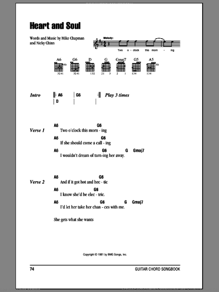 Heart And Soul sheet music for guitar (chords) by Nicky Chinn and Mike Chapman. Score Image Preview.