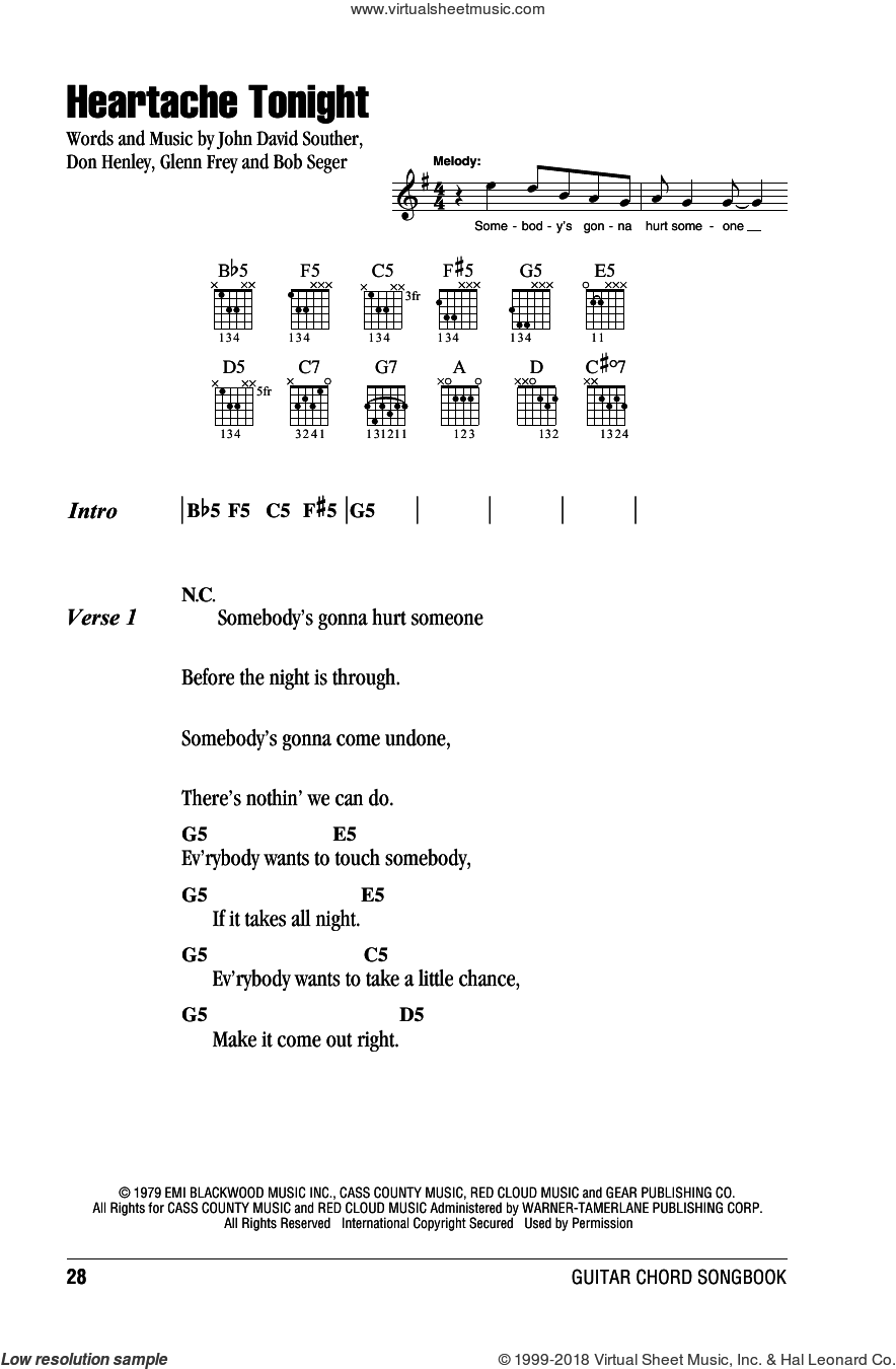 Heartache Tonight sheet music for guitar (chords, lyrics, melody) by John David Souther