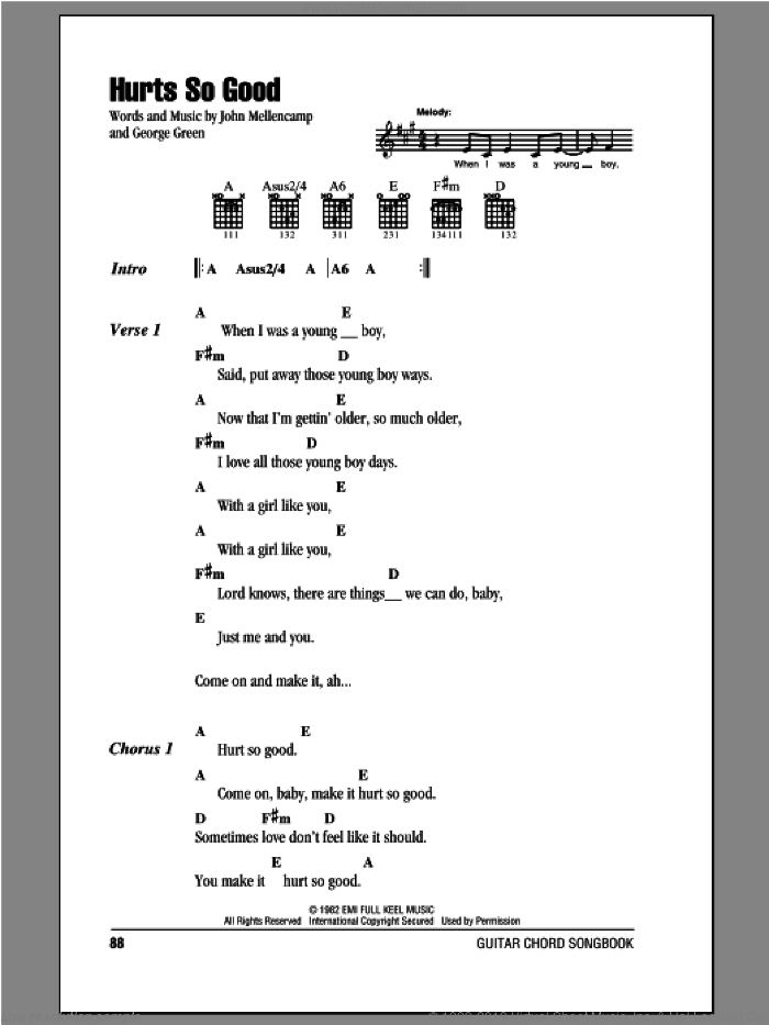 Hurts So Good sheet music for guitar (chords) by George Green and John Mellencamp. Score Image Preview.