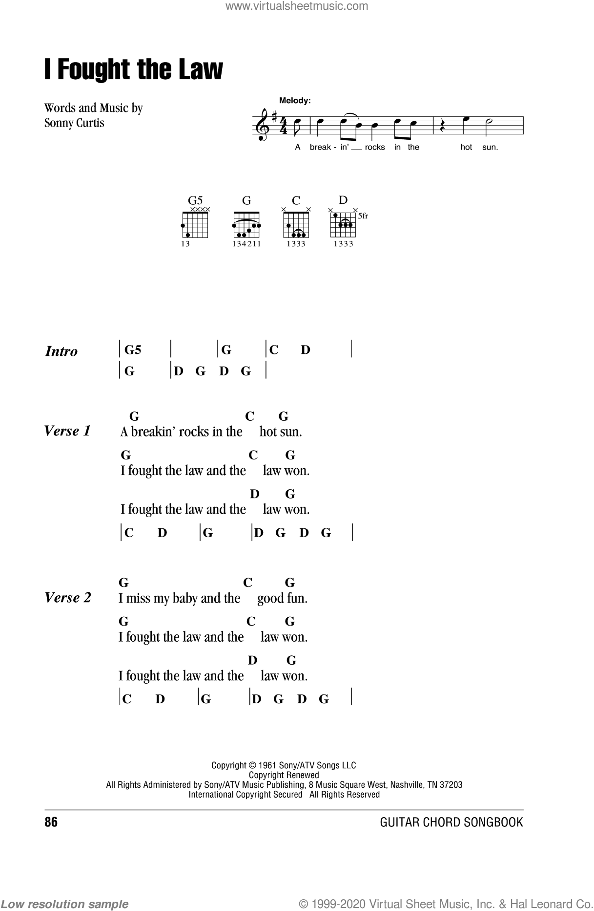 I Fought The Law sheet music for guitar (chords) by The Clash, Bobby Fuller Four and Sonny Curtis, intermediate skill level