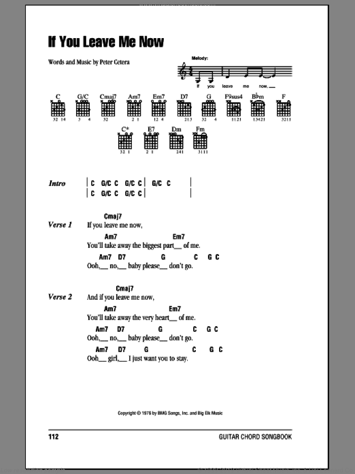 Chicago - If You Leave Me Now sheet music for guitar (chords)