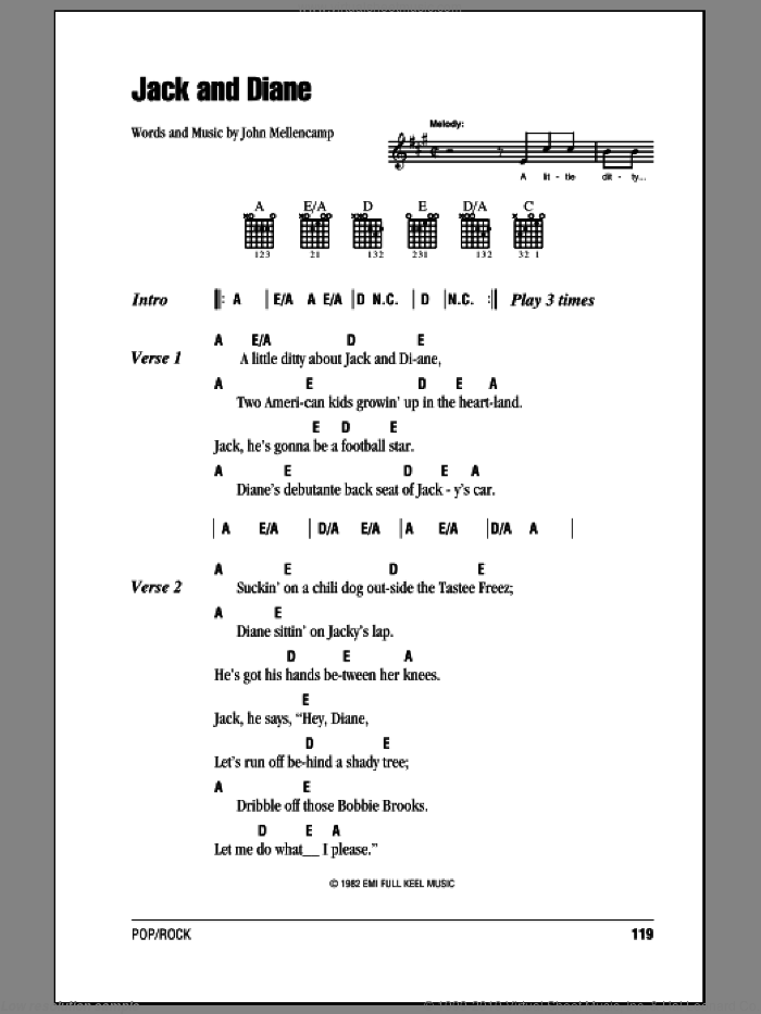 Jack And Diane sheet music for guitar (chords) by John Mellencamp. Score Image Preview.