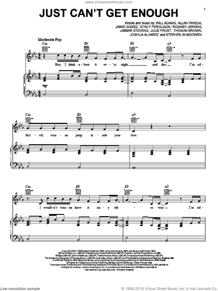 Just Can't Get Enough sheet music for voice, piano or guitar by Will Adams, Black Eyed Peas, LaShawn Daniels, Rodney Jerkins and Stacy Ferguson, intermediate. Score Image Preview.