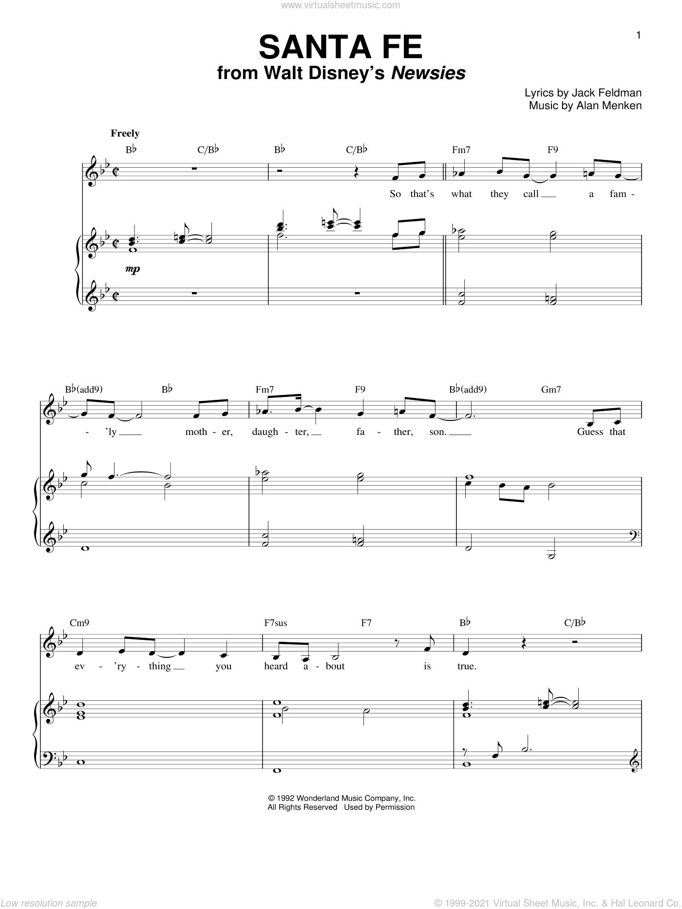 Santa Fe sheet music for voice and piano by Alan Menken, Newsies (Musical) and Jack Feldman, intermediate skill level