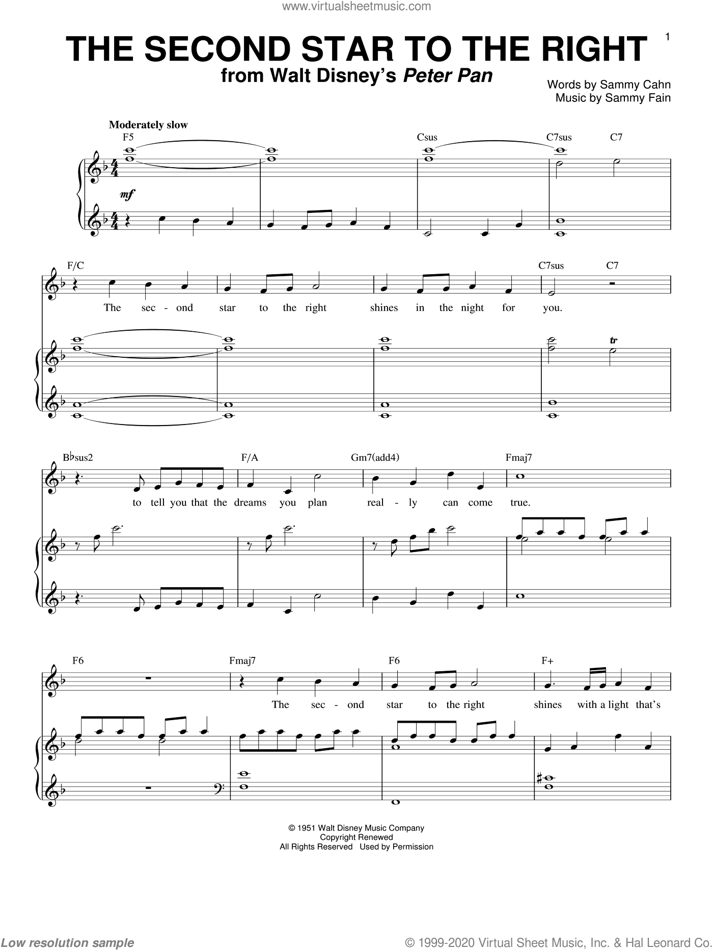 The Second Star To The Right sheet music for voice and piano by Doris Day, Sammy Cahn and Sammy Fain, intermediate skill level