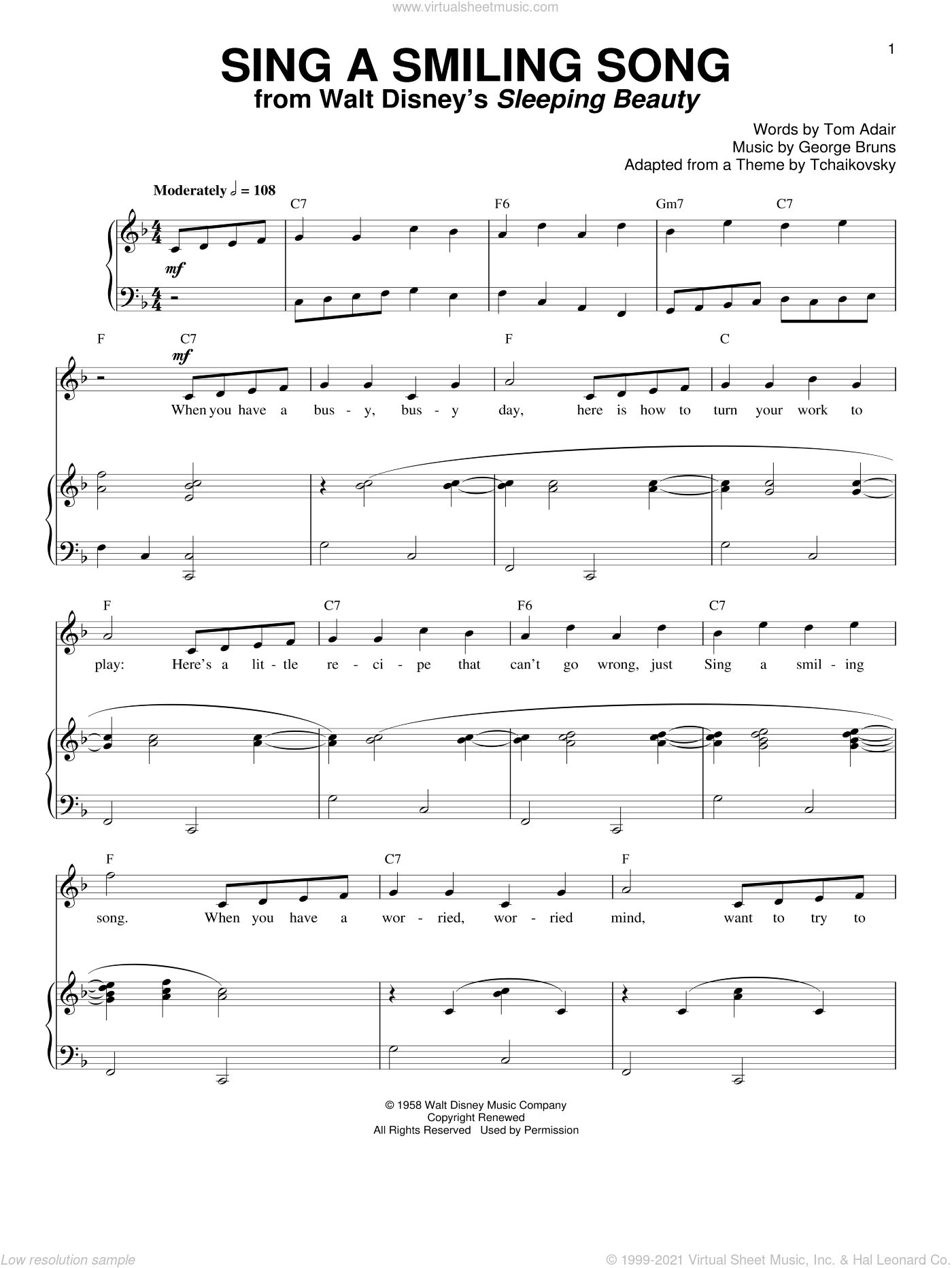 Sing A Smiling Song sheet music for voice and piano by George Bruns and Tom Adair