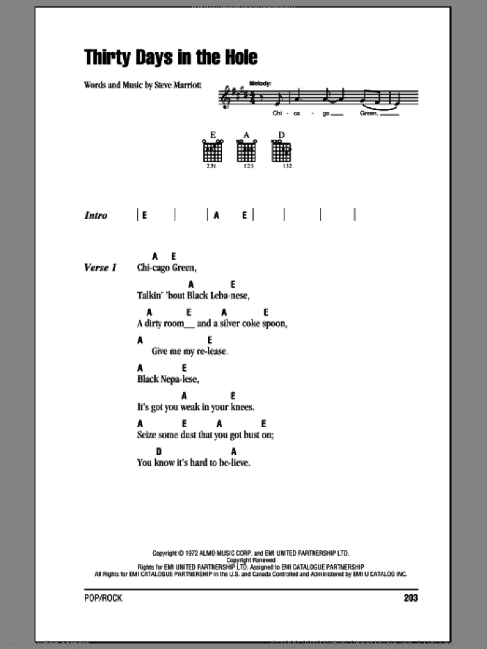 Thirty Days In The Hole sheet music for guitar (chords) by Steve Marriott and Humble Pie. Score Image Preview.