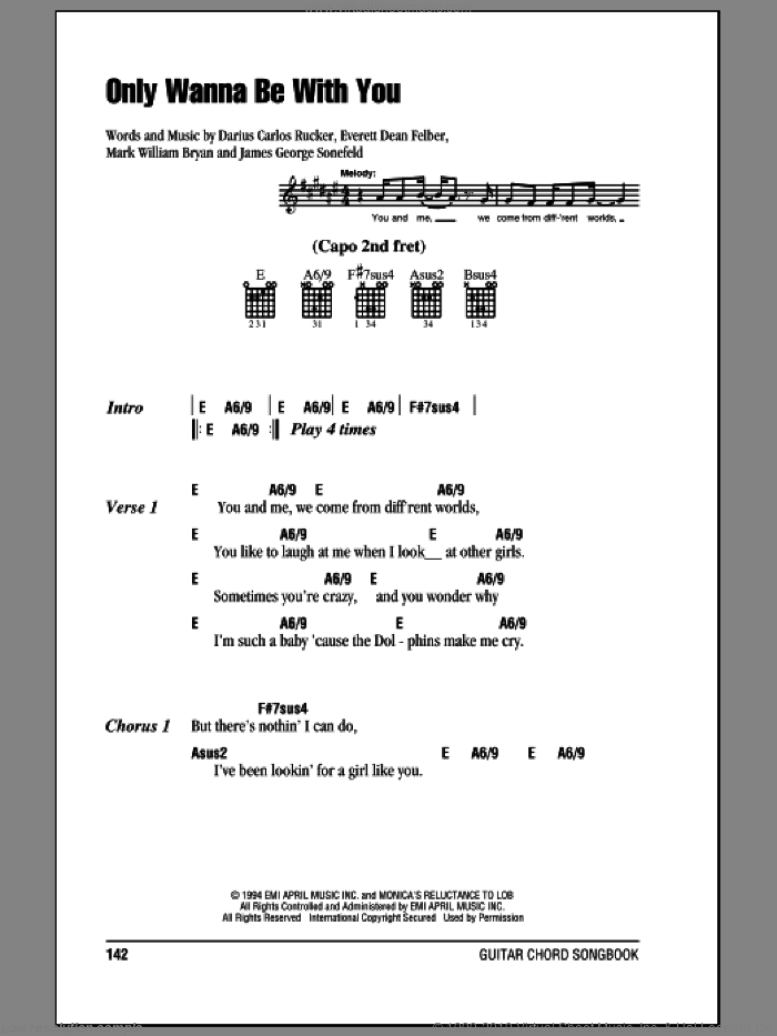 Only Wanna Be With You sheet music for guitar (chords) by Hootie & The Blowfish, Darius Rucker, Everett Dean Felber, James George Sonefeld and Mark William Bryan, intermediate skill level