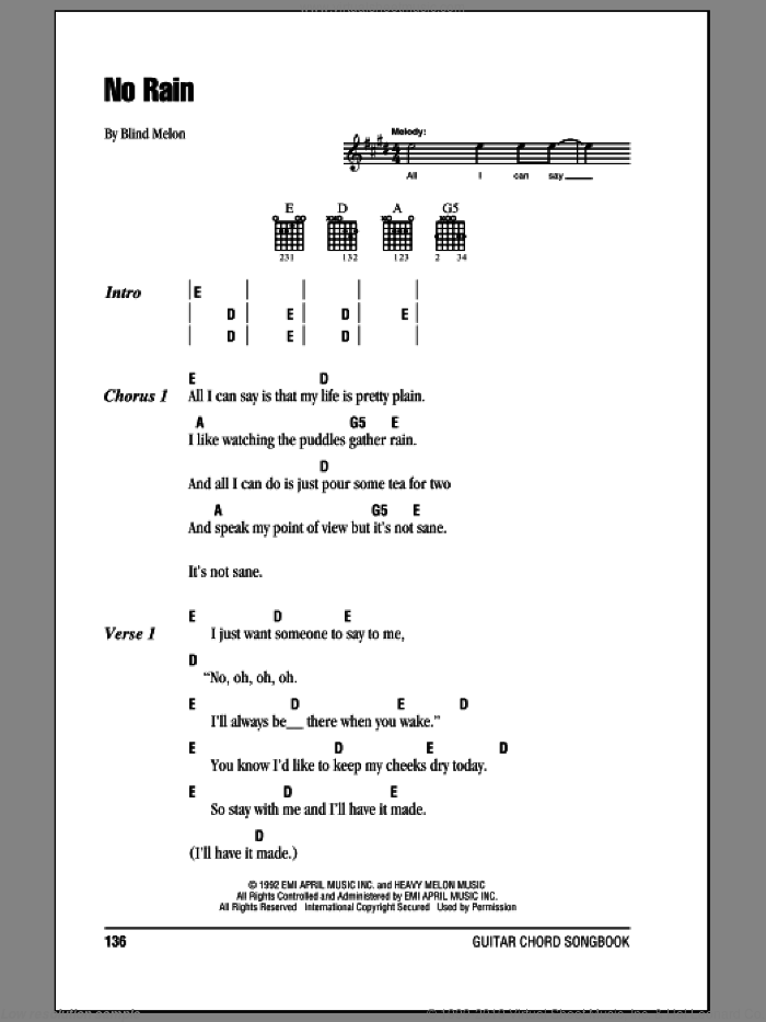 No Rain sheet music for guitar (chords) by Blind Melon, intermediate. Score Image Preview.