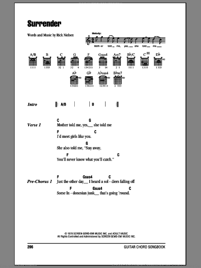 Surrender sheet music for guitar (chords) by Rick Nielsen and Cheap Trick. Score Image Preview.
