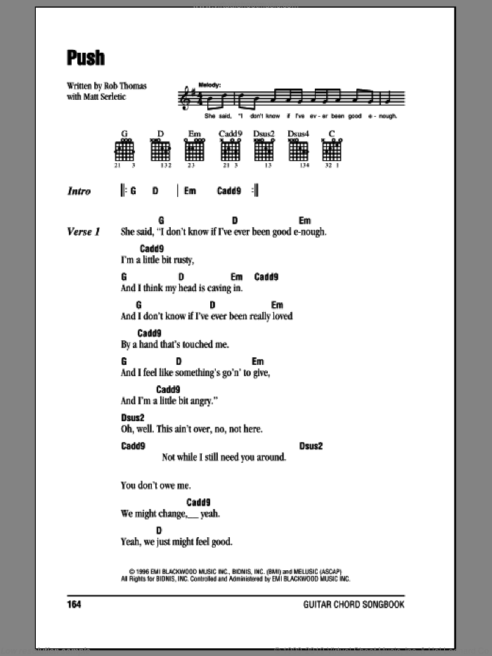 Push sheet music for guitar (chords) by Rob Thomas
