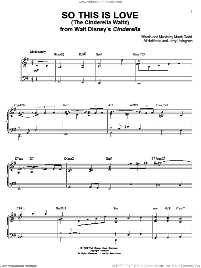 So This Is Love (The Cinderella Waltz) sheet music for voice and piano by Mack David, Al Hoffman and Jerry Livingston, intermediate skill level