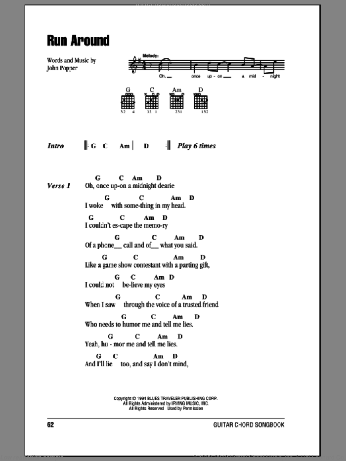 Run Around sheet music for guitar (chords) by John Popper