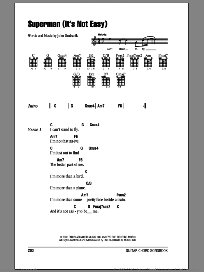 Superman (It's Not Easy) sheet music for guitar (chords) by Five For Fighting, intermediate guitar (chords). Score Image Preview.