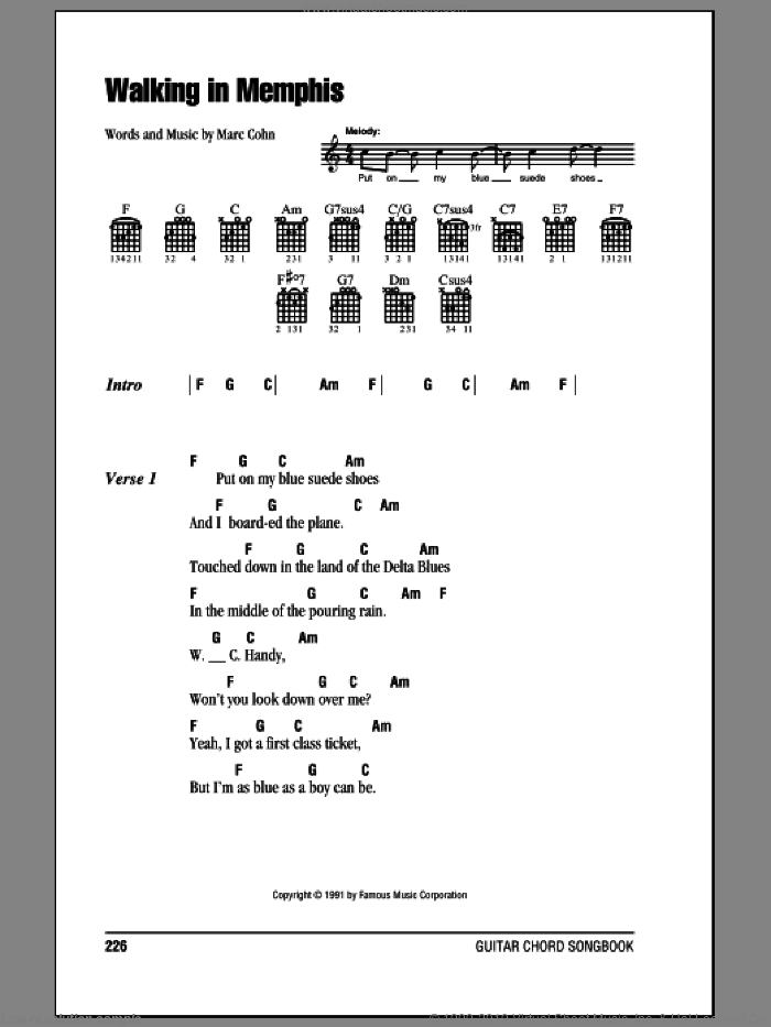 Walking In Memphis sheet music for guitar (chords, lyrics, melody) by Marc Cohn