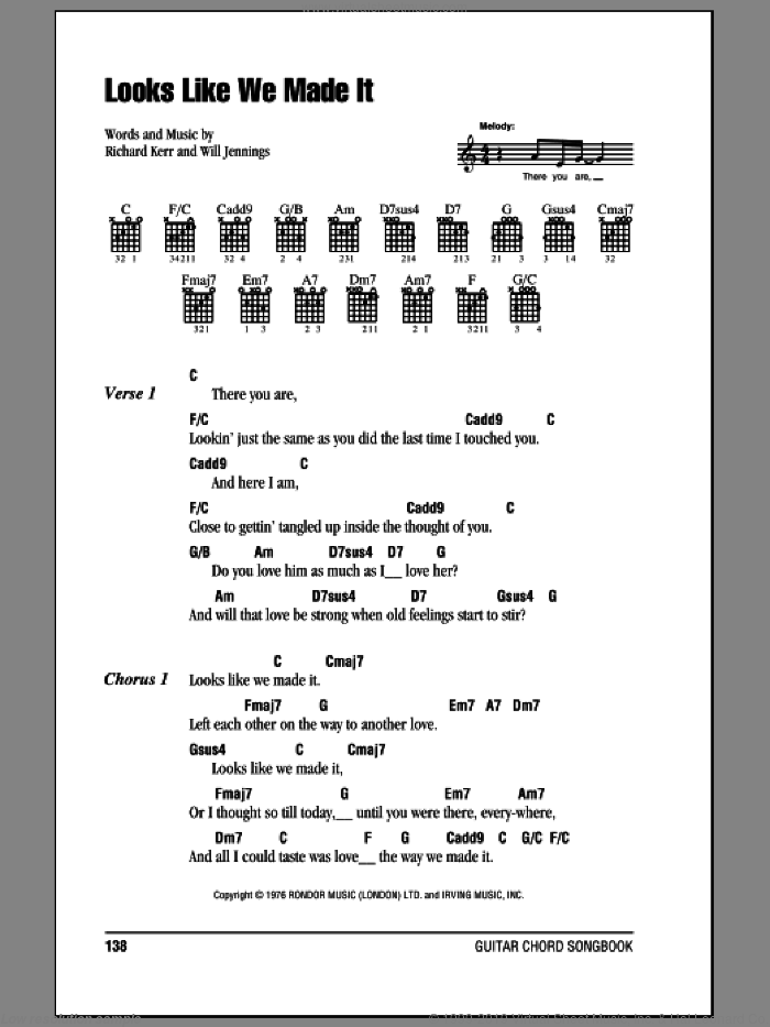 Looks Like We Made It sheet music for guitar (chords) by Will Jennings and Barry Manilow. Score Image Preview.