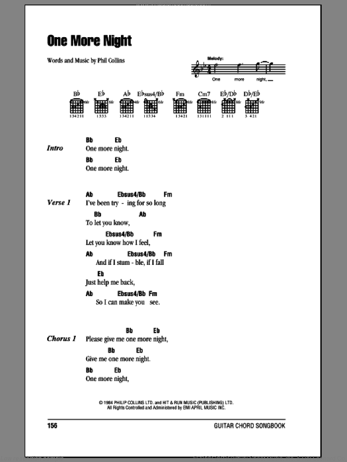 One More Night sheet music for guitar (chords) by Phil Collins, intermediate. Score Image Preview.