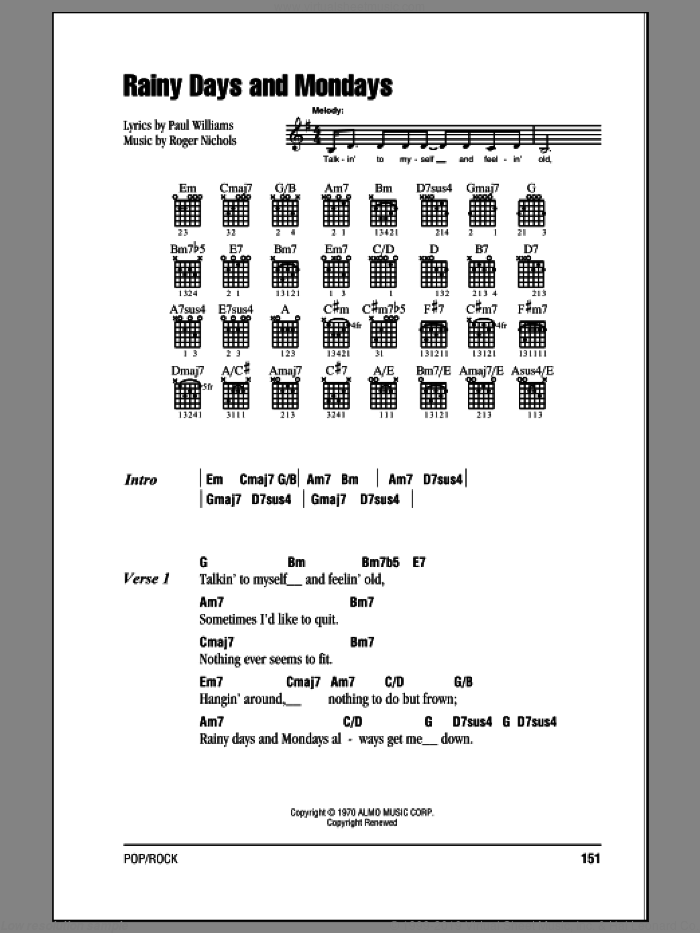 Rainy Days And Mondays sheet music for guitar (chords) by Carpenters and Paul Williams, intermediate guitar (chords). Score Image Preview.