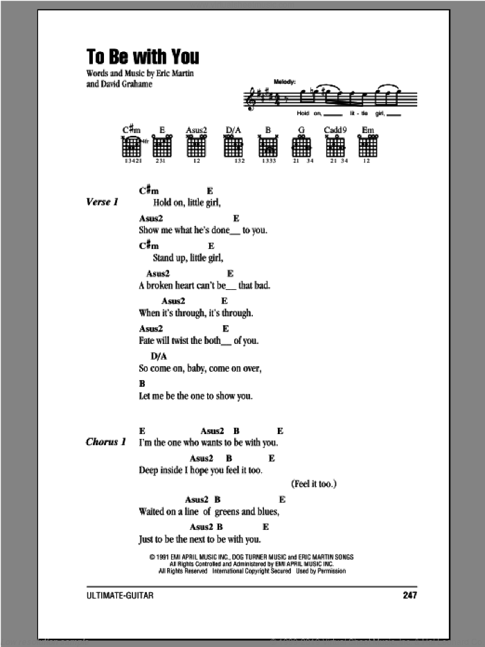 To Be With You sheet music for guitar (chords, lyrics, melody) by Eric Martin