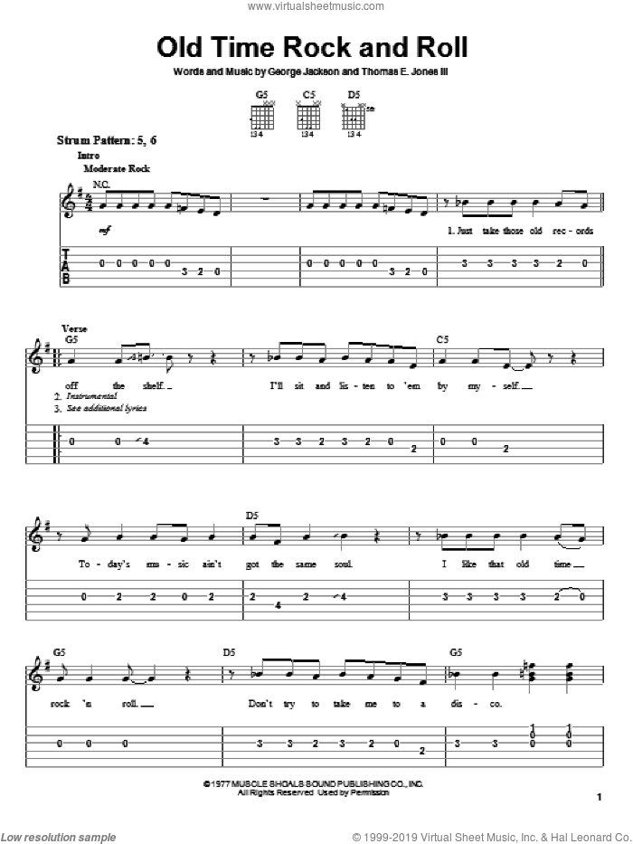 Old Time Rock and Roll sheet music for guitar solo (easy tablature) by Bob Seger, George Jackson and Tom Jones, easy guitar (easy tablature)