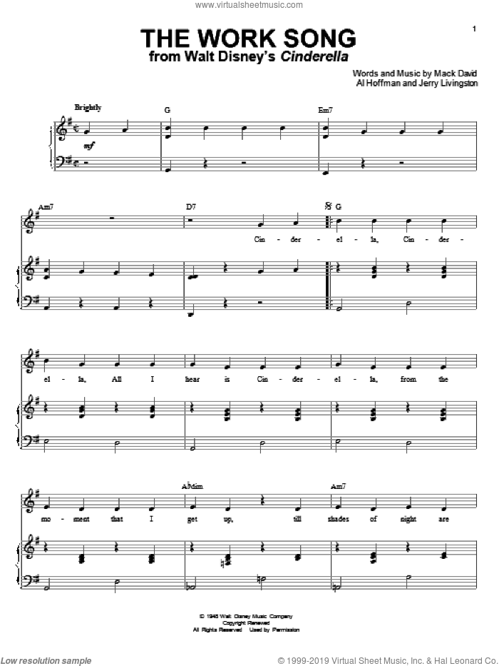 The Work Song sheet music for voice and piano by Jerry Livingston, Al Hoffman and Mack David. Score Image Preview.