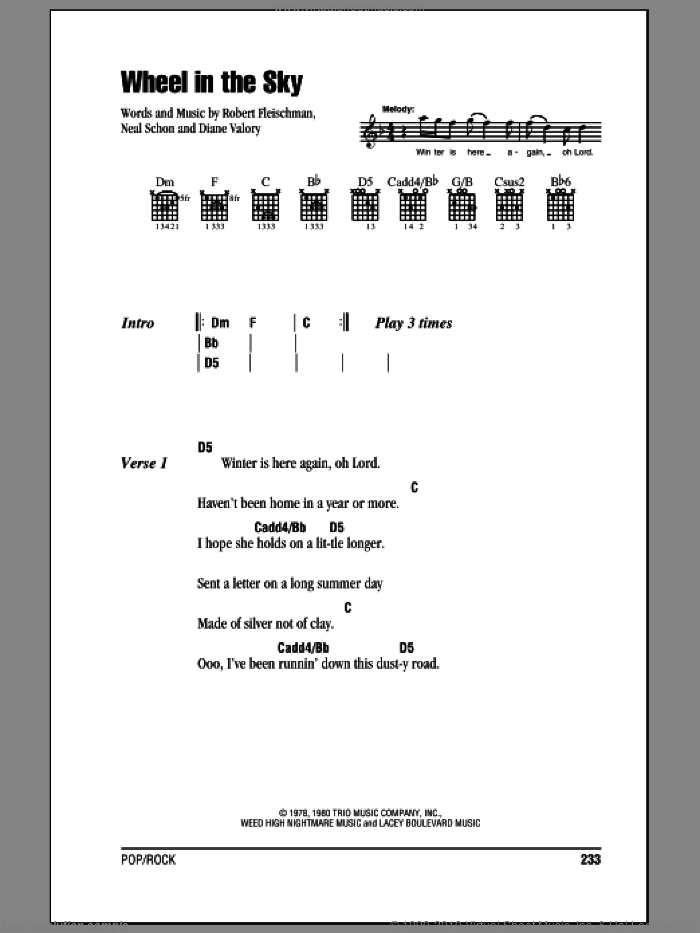 Wheel In The Sky sheet music for guitar (chords) by Robert Fleischman
