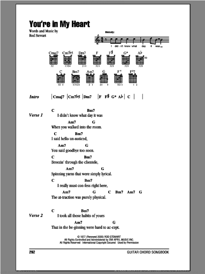 You're In My Heart sheet music for guitar (chords) by Rod Stewart, intermediate. Score Image Preview.