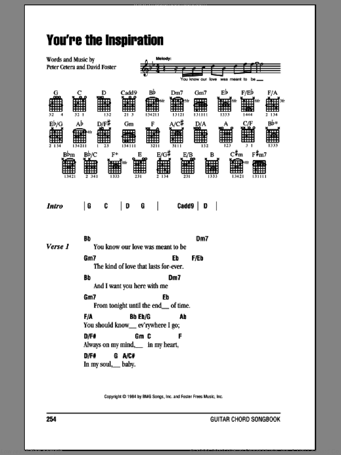 Chicago - You\'re The Inspiration sheet music for guitar (chords)