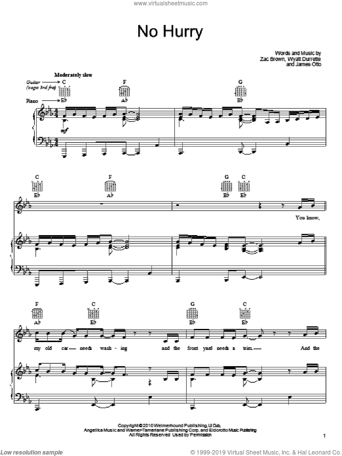 No Hurry sheet music for voice, piano or guitar by Zac Brown Band, James Otto, Wyatt Durrette and Zac Brown, intermediate. Score Image Preview.