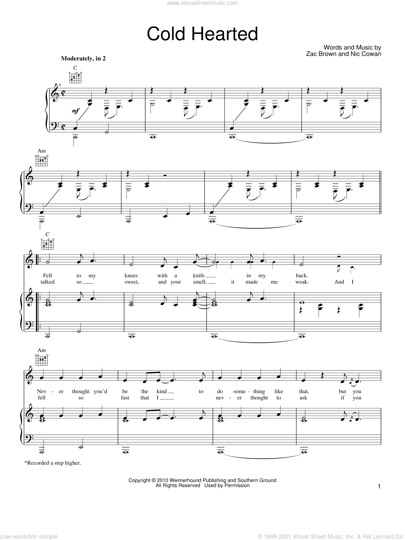 Cold Hearted sheet music for voice, piano or guitar by Zac Brown Band, Nic Cowan and Zac Brown, intermediate skill level