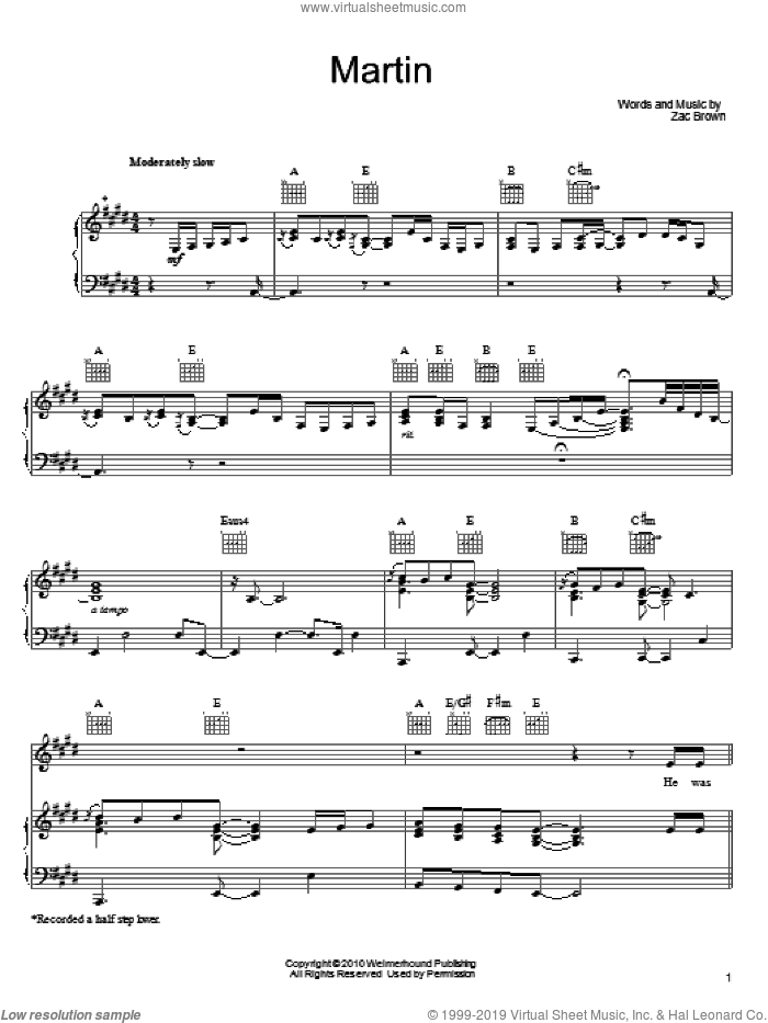 Martin sheet music for voice, piano or guitar by Zac Brown and Zac Brown Band. Score Image Preview.