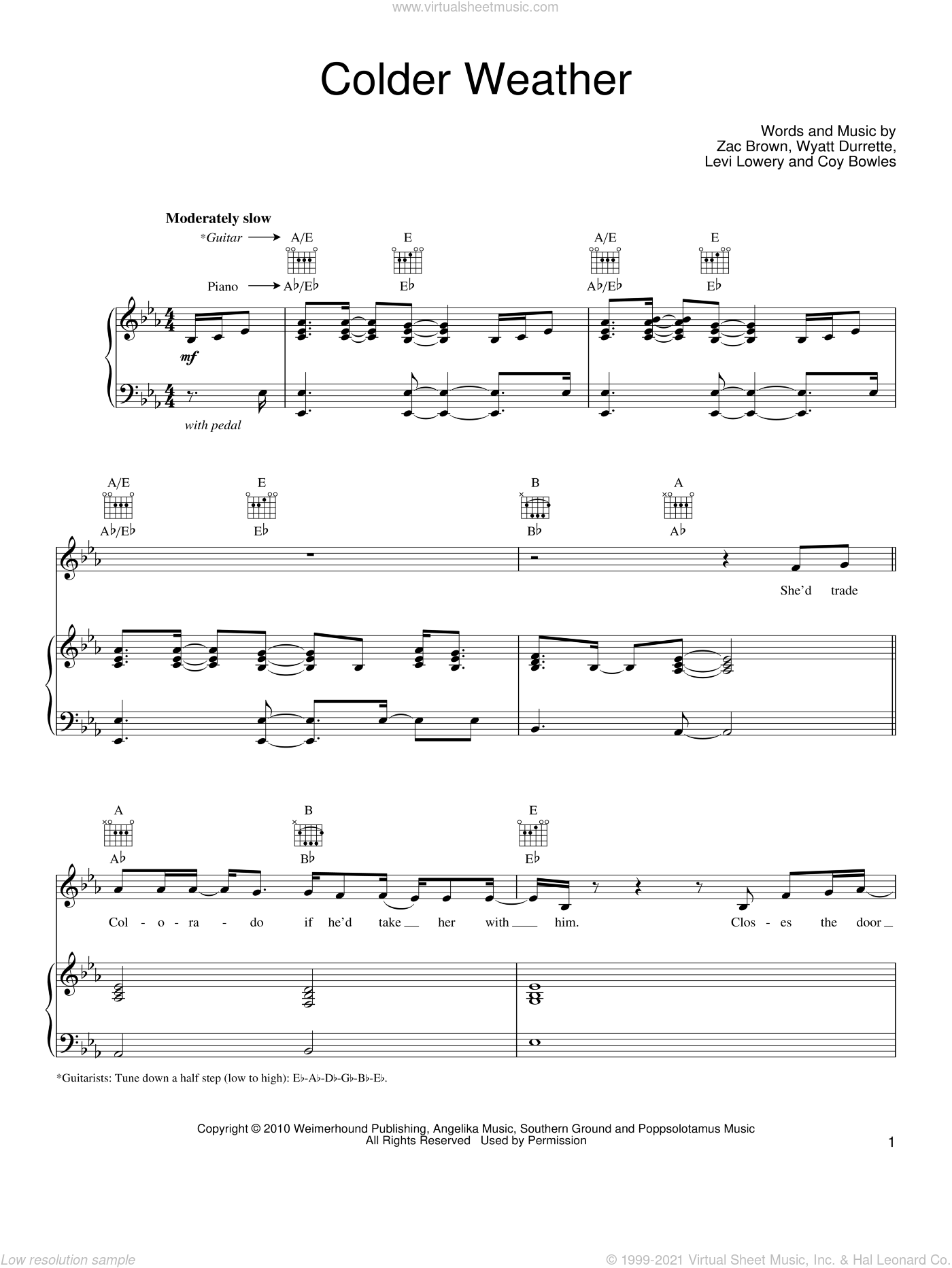 Colder Weather sheet music for voice, piano or guitar by Zac Brown Band, Coy Bowles, Levi Lowery, Wyatt Durrette and Zac Brown, intermediate skill level