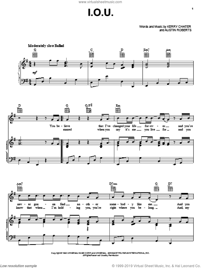 I.O.U. sheet music for voice, piano or guitar by Kerry Chater