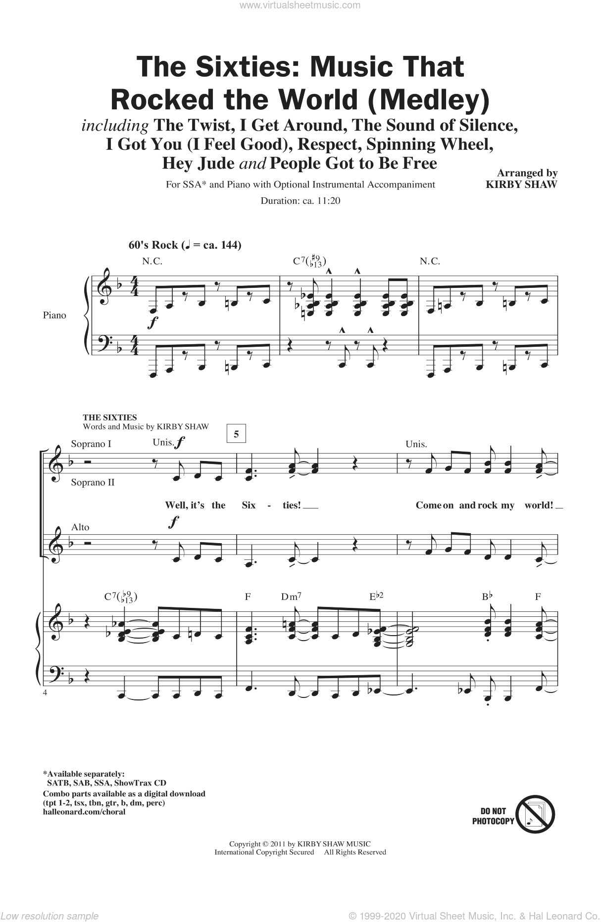 The Sixties: Music That Rocked The World sheet music for choir and piano (SSA) by Kirby Shaw. Score Image Preview.