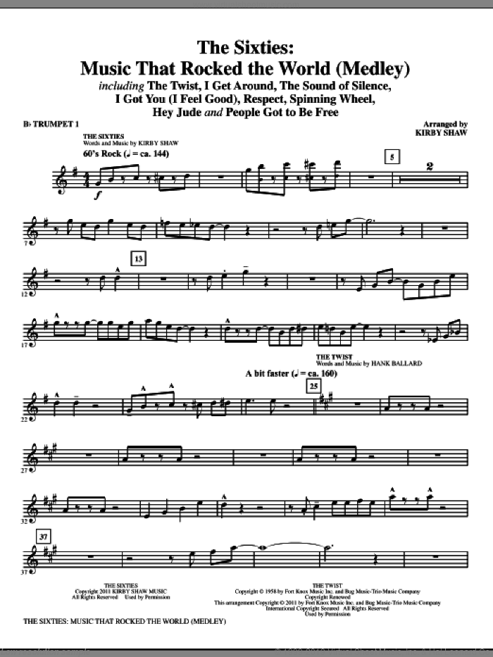 The Sixties: Music That Rocked The World (complete set of parts) sheet music for orchestra/band by Kirby Shaw, intermediate. Score Image Preview.