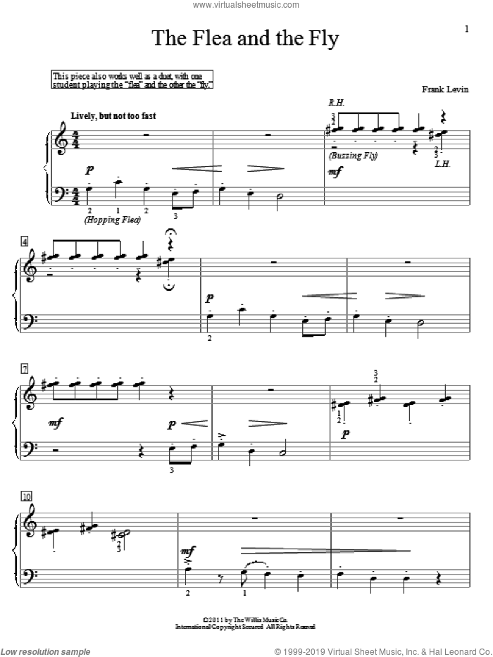 The Flea And The Fly sheet music for piano solo (elementary) by Frank Levin. Score Image Preview.