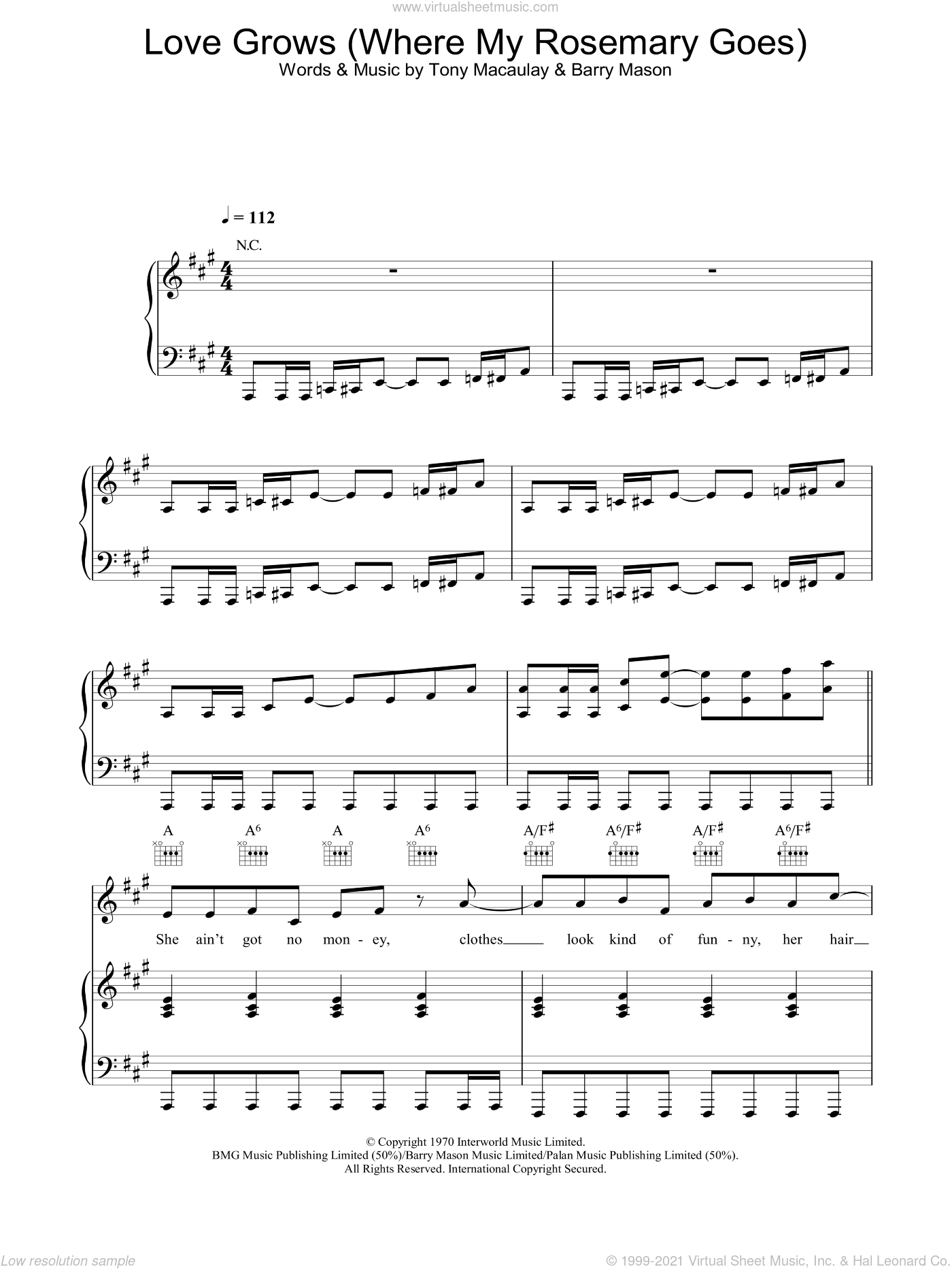 Love Grows (Where My Rosemary Goes) sheet music for voice, piano or guitar by Tony MacAuley