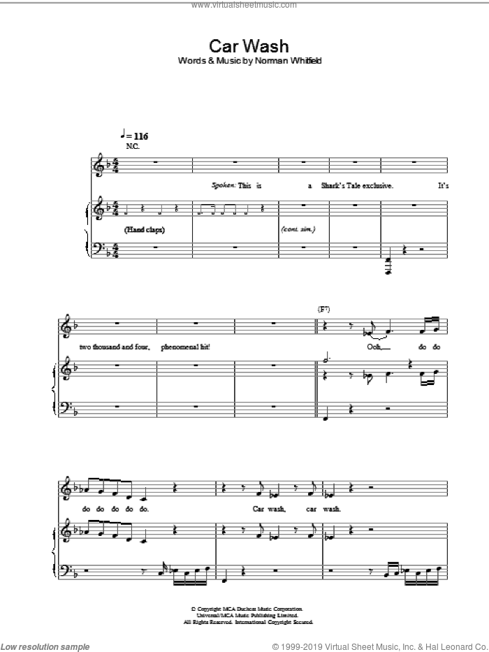 Car Wash sheet music for voice, piano or guitar by Norman Whitfield and Christina Aguilera. Score Image Preview.