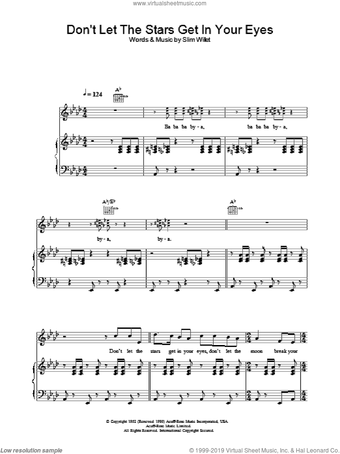 Don't Let The Stars Get In Your Eyes sheet music for voice, piano or guitar by Perry Como, Ray Price, Skeets McDonald and Slim Willet, intermediate. Score Image Preview.