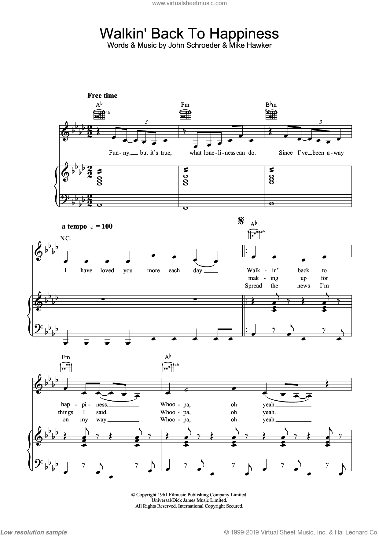 Walkin' Back To Happiness sheet music for voice, piano or guitar by Helen Shapiro, John Schroeder and Mike Hawker, intermediate skill level