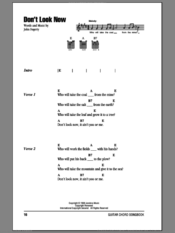 Don't Look Now sheet music for guitar (chords) by Creedence Clearwater Revival and John Fogerty. Score Image Preview.