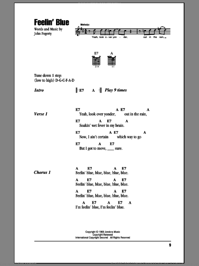 Feelin' Blue sheet music for guitar (chords) by Creedence Clearwater Revival, intermediate skill level