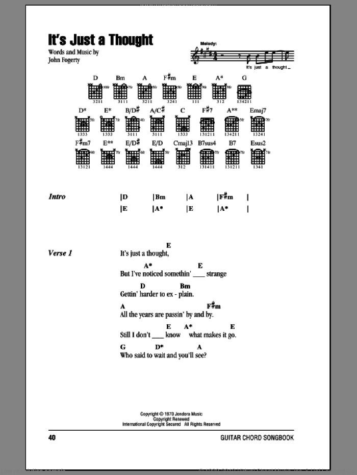 It's Just A Thought sheet music for guitar (chords) by Creedence Clearwater Revival and John Fogerty, intermediate