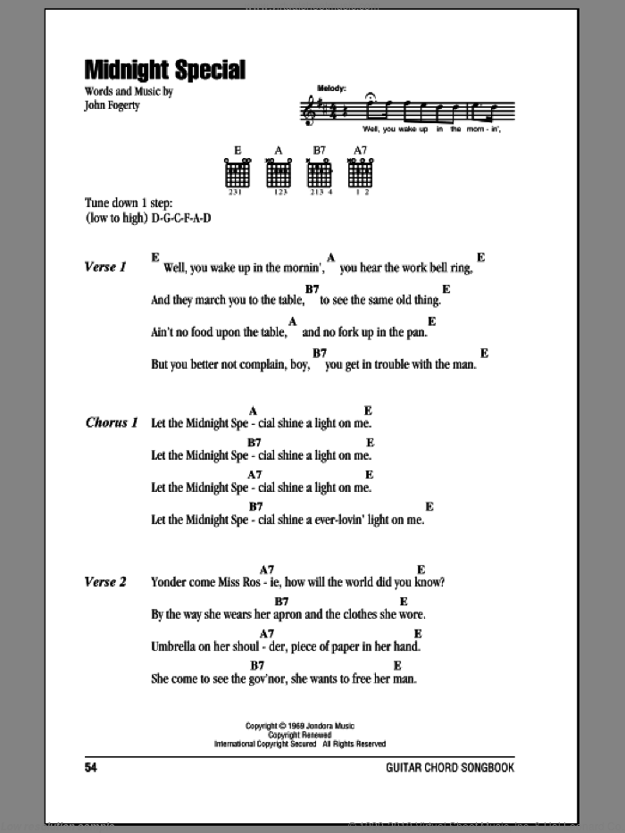 Revival Midnight Special Sheet Music For Guitar Chords Pdf
