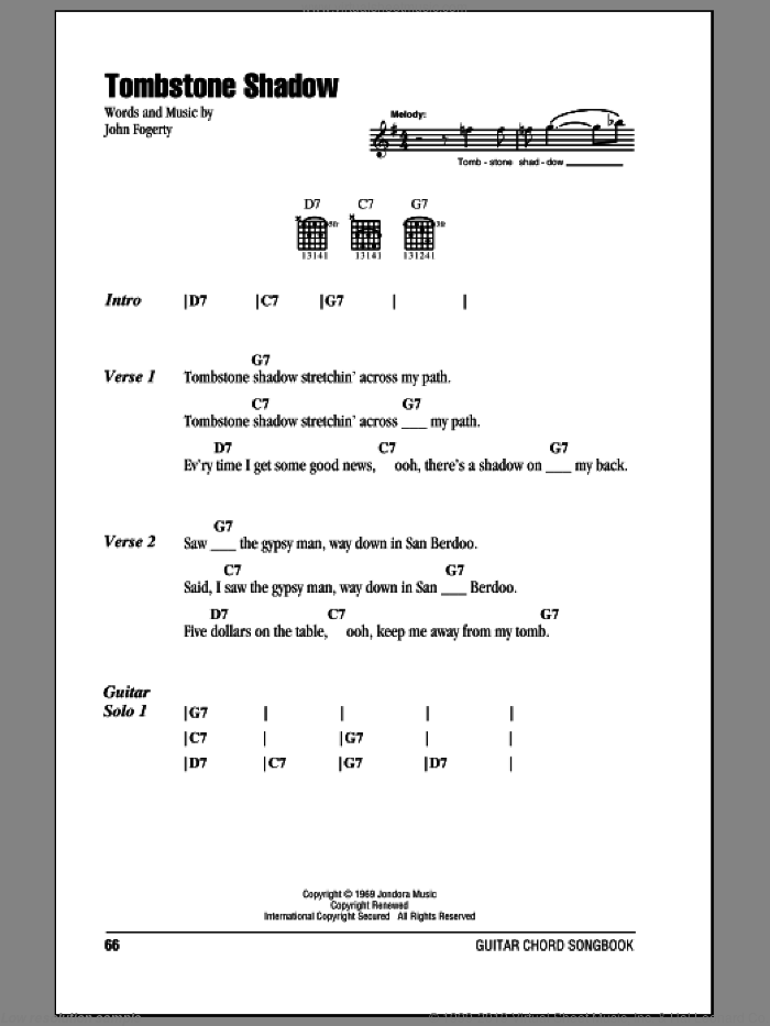 Tombstone Shadow sheet music for guitar (chords) by Creedence Clearwater Revival and John Fogerty. Score Image Preview.