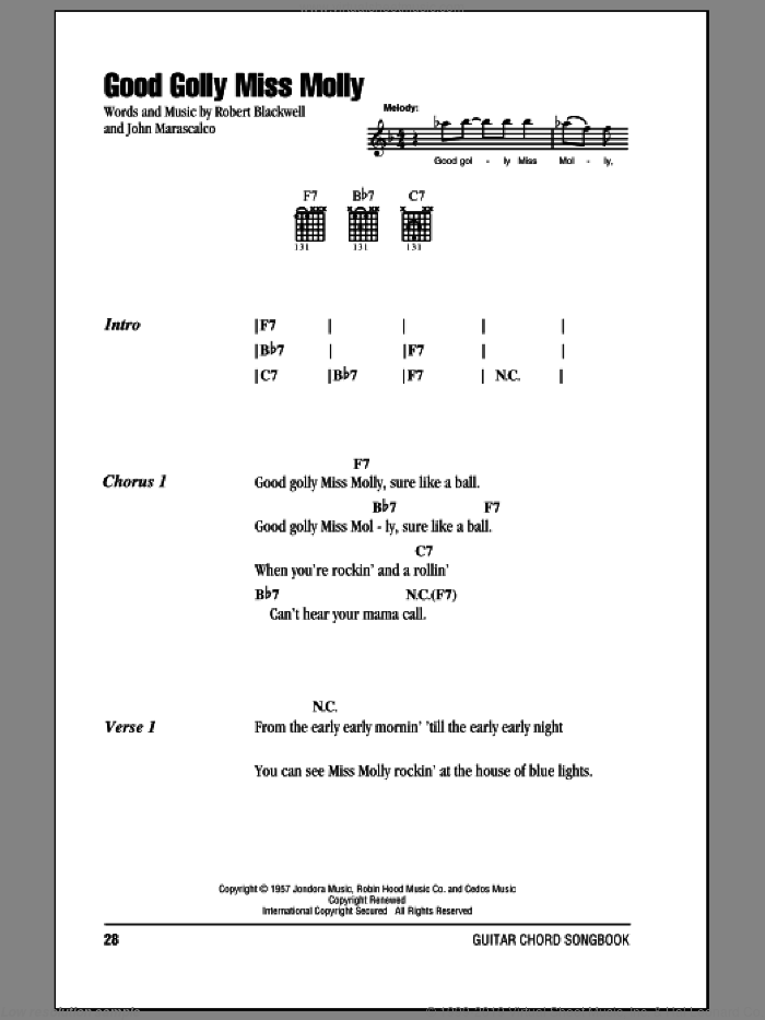 Good Golly Miss Molly sheet music for guitar (chords) by Creedence Clearwater Revival, Mitch Ryder, John Marascalco and Robert Blackwell, intermediate skill level