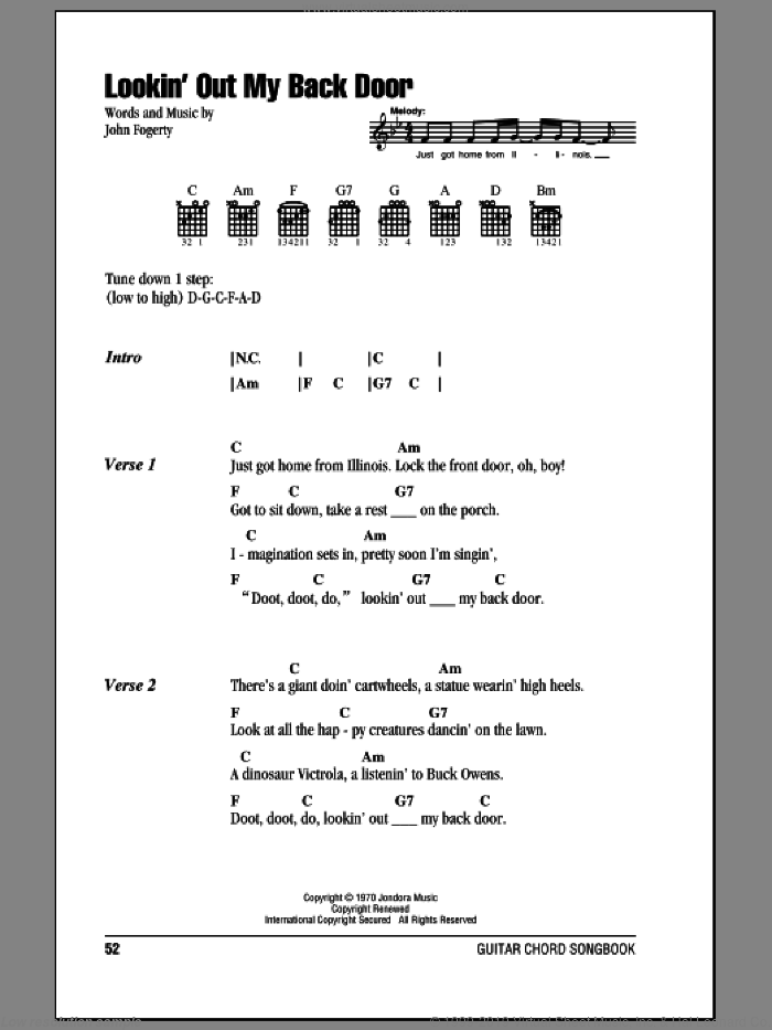 Lookin' Out My Back Door sheet music for guitar (chords) by Creedence Clearwater Revival and John Fogerty, intermediate guitar (chords). Score Image Preview.
