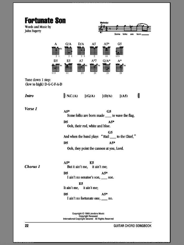 Fortunate Son sheet music for guitar (chords) by John Fogerty and Creedence Clearwater Revival. Score Image Preview.