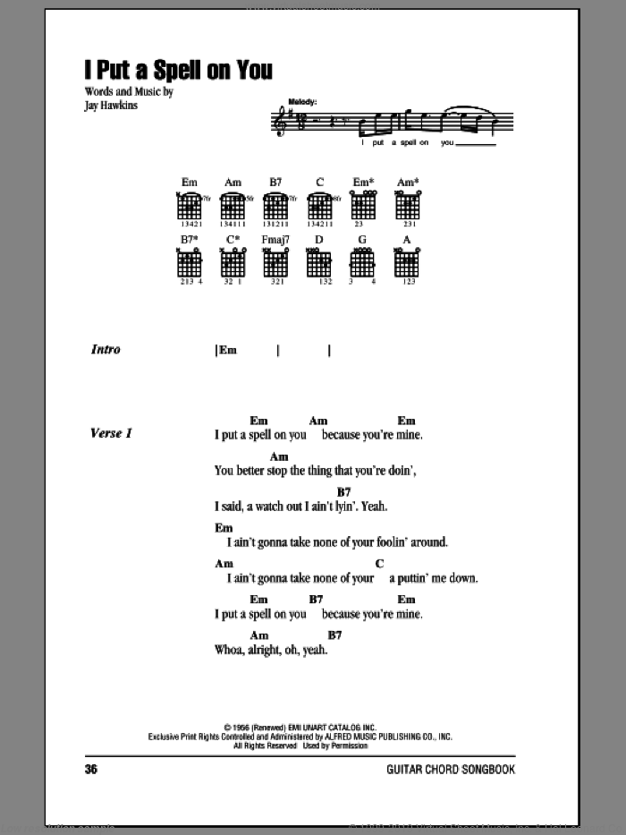I Put A Spell On You sheet music for guitar (chords) by Jay Hawkins and Creedence Clearwater Revival. Score Image Preview.