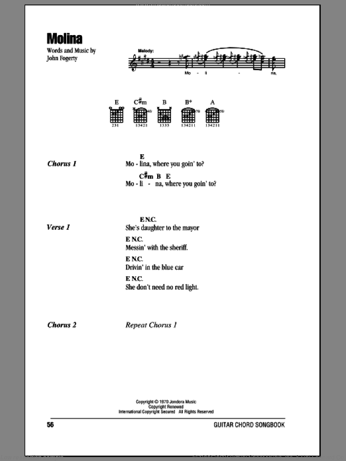 Molina sheet music for guitar (chords) by Creedence Clearwater Revival and John Fogerty, intermediate. Score Image Preview.